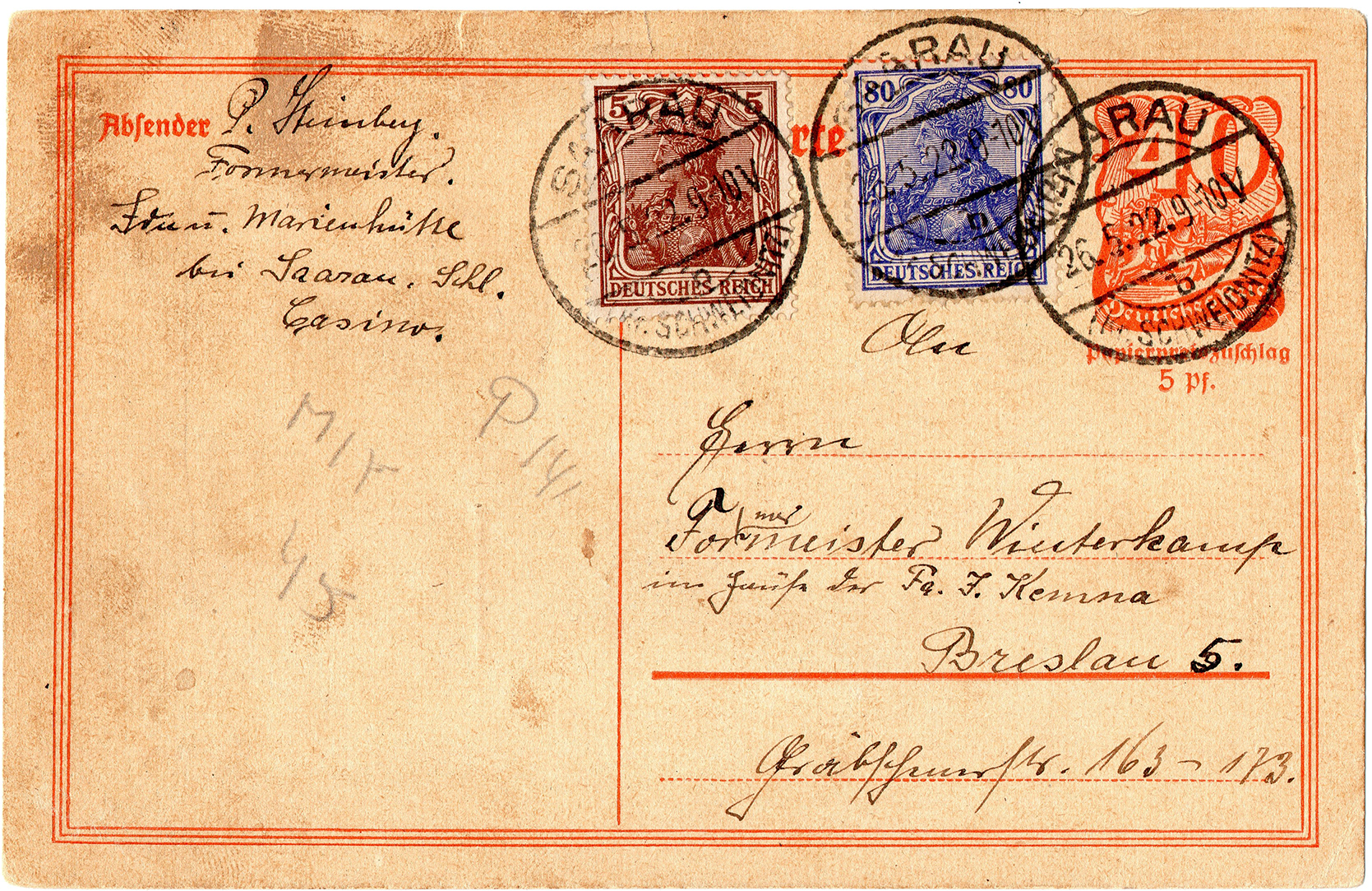 Kartka korespondencyjna Ida- und Marienhütte – Breslau 1922 (1)