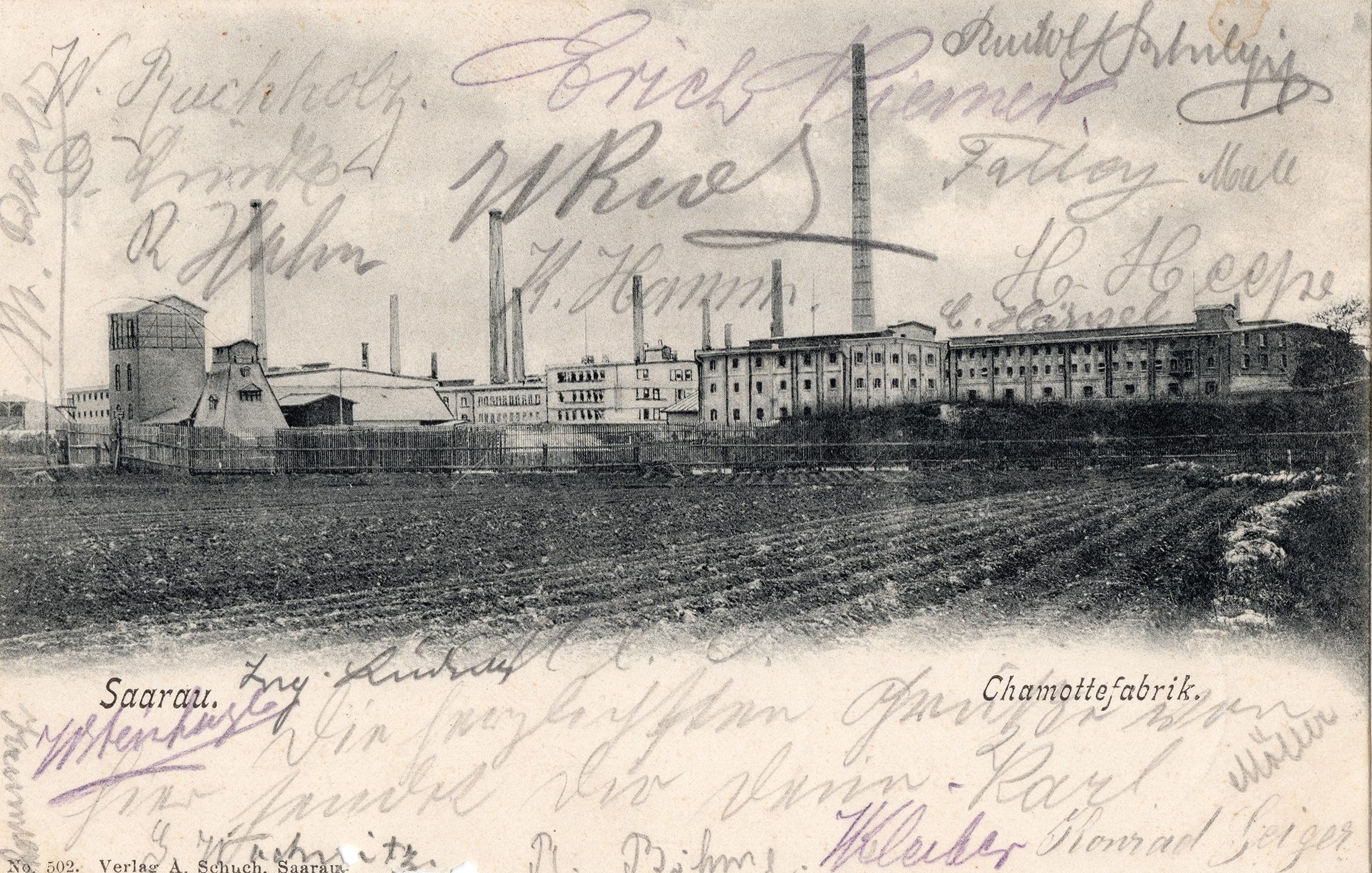 Karta pocztowa Chamottefabrik Panoramen Saarau 1905 (1)