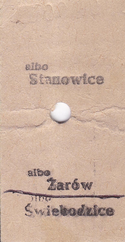 Bilety kartonowe systemu Edmondsona (ze stacją pośrednią w Żarowie) lata 80-90-te XX wieku 1 (2)