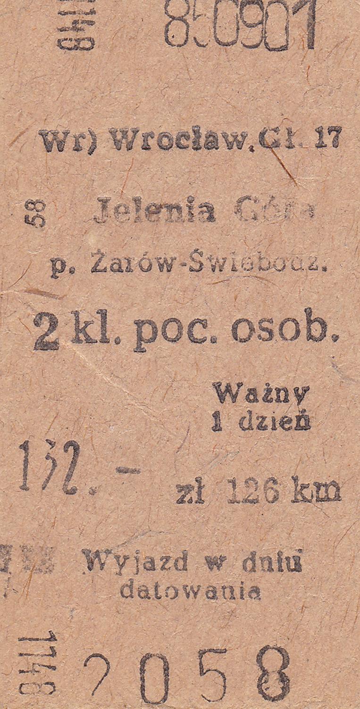 Bilety kartonowe systemu Edmondsona (ze stacją pośrednią w Żarowie) lata 80-90-te XX wieku 2 (1)