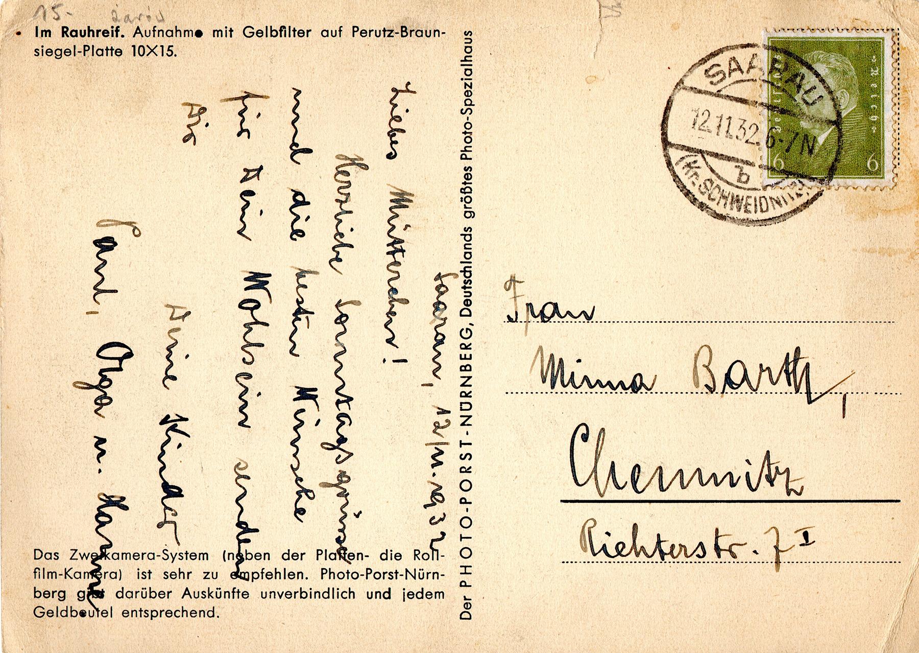 Kartka korespondencyjna Saarau-Chemnitz 1932 2