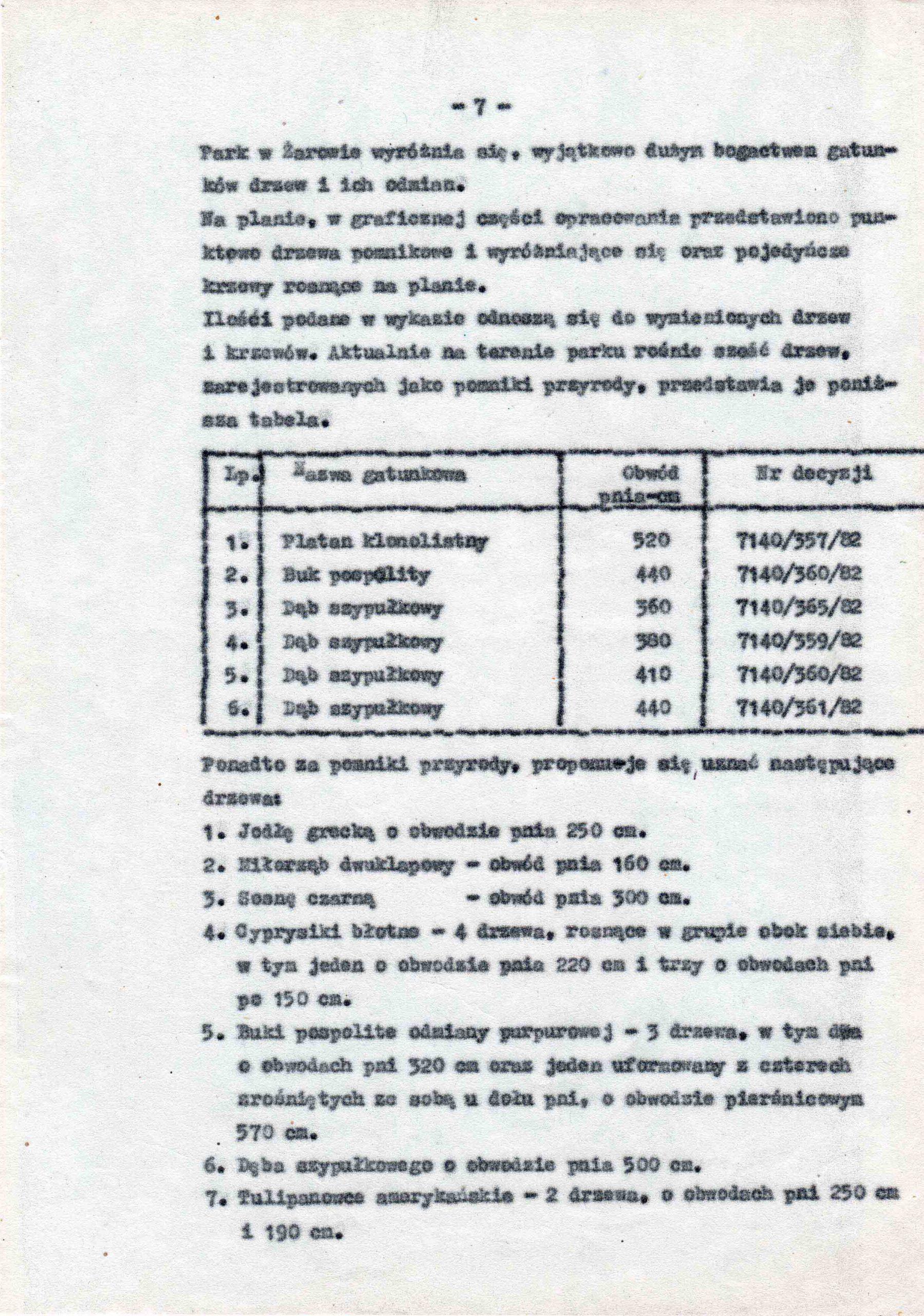 Ewidencja założenia ogrodowo-parkowego 1987 dokument (11)