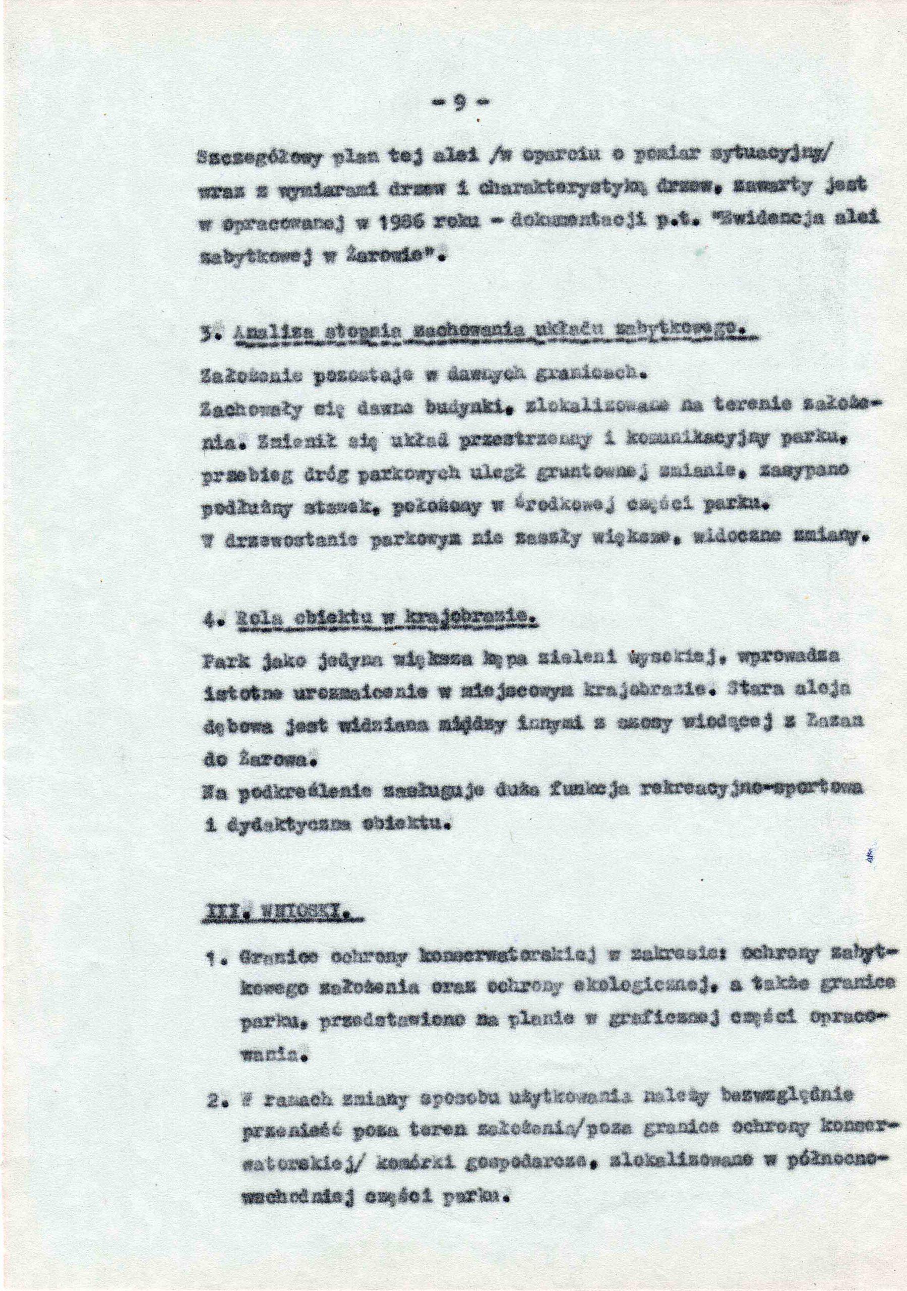Ewidencja założenia ogrodowo-parkowego 1987 dokument (13)