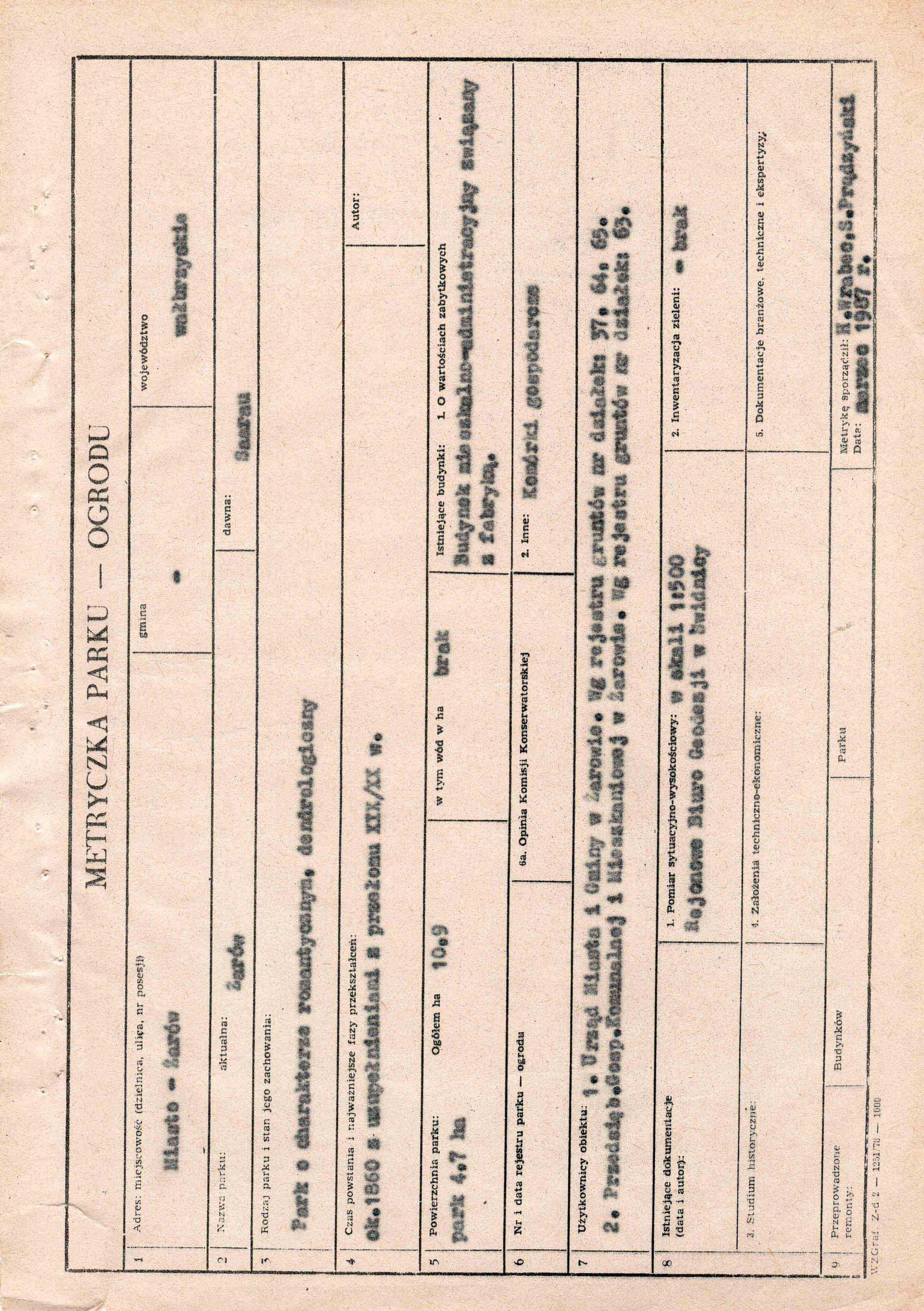 Ewidencja założenia ogrodowo-parkowego 1987 dokument (3)