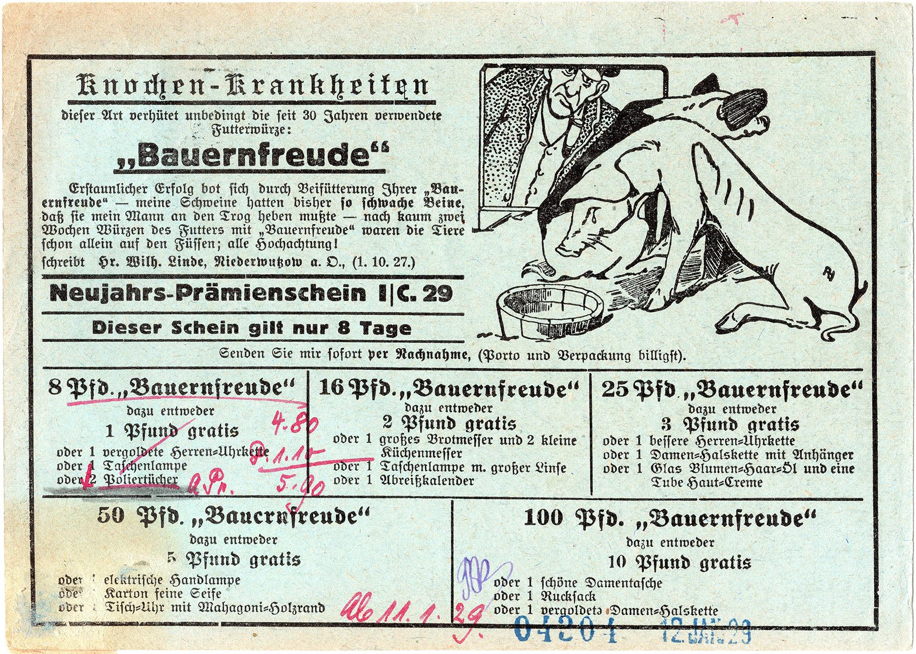 "Zwrotna kartka pocztowa ""Bauernfreude"" adresowana z Saarau 1929 (2)"