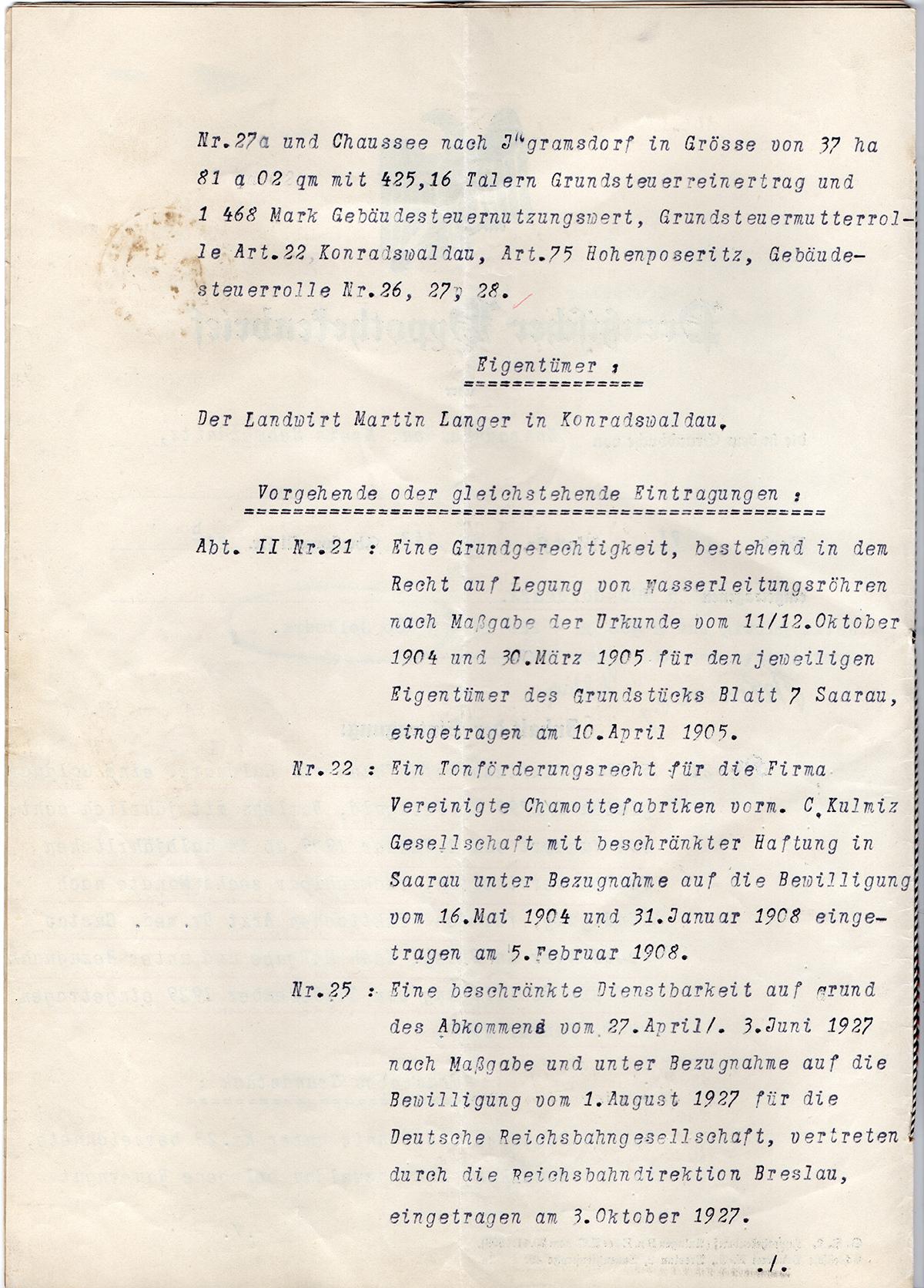 Pożyczka hipoteczna mieszkańca Konradswaldau Martina Langera 1929 (2)