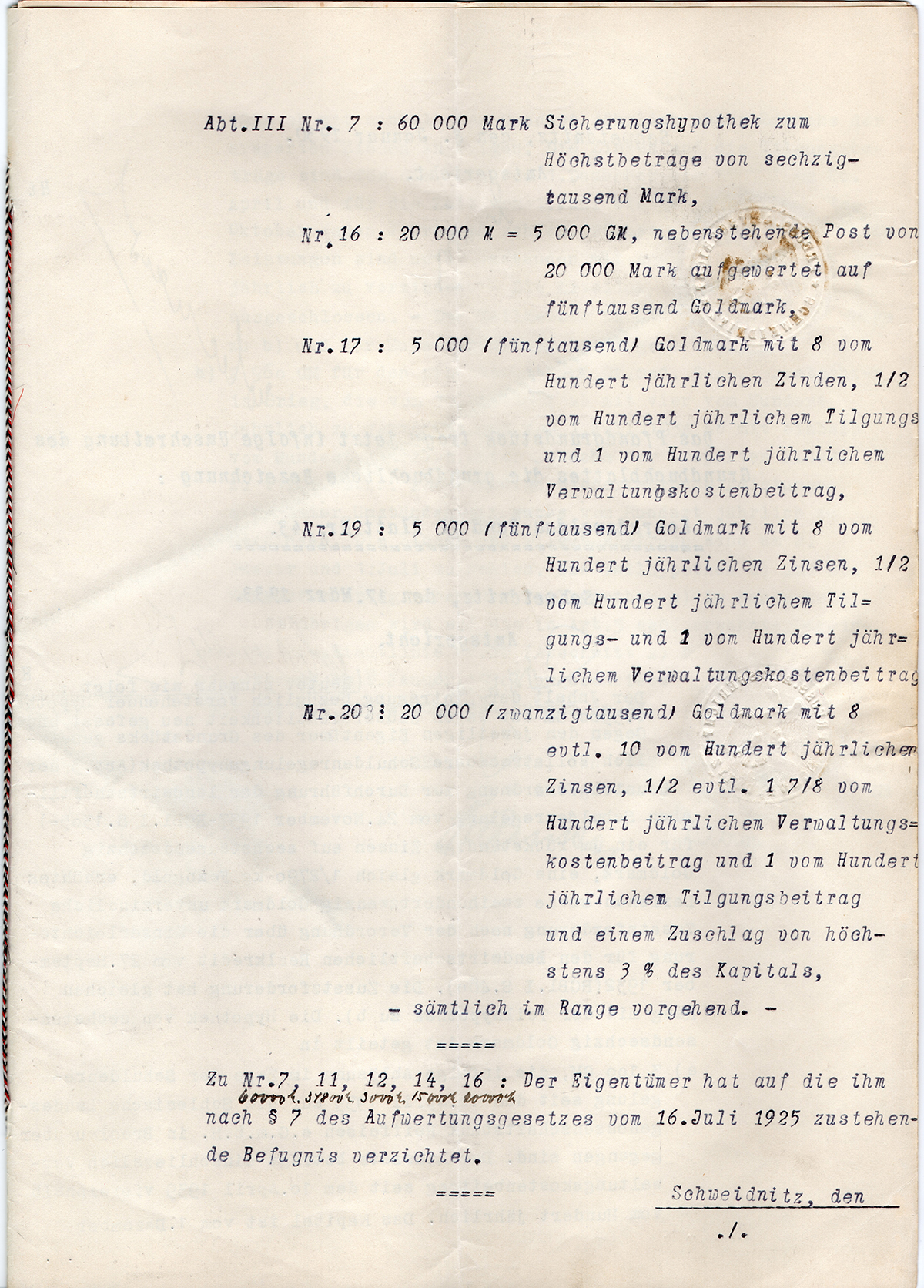 Pożyczka hipoteczna mieszkańca Konradswaldau Martina Langera 1929 (3)