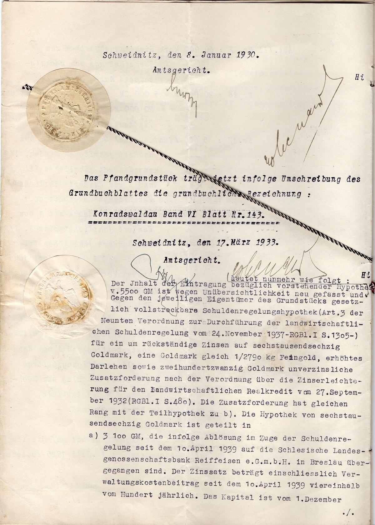 Pożyczka hipoteczna mieszkańca Konradswaldau Martina Langera 1929 (4)