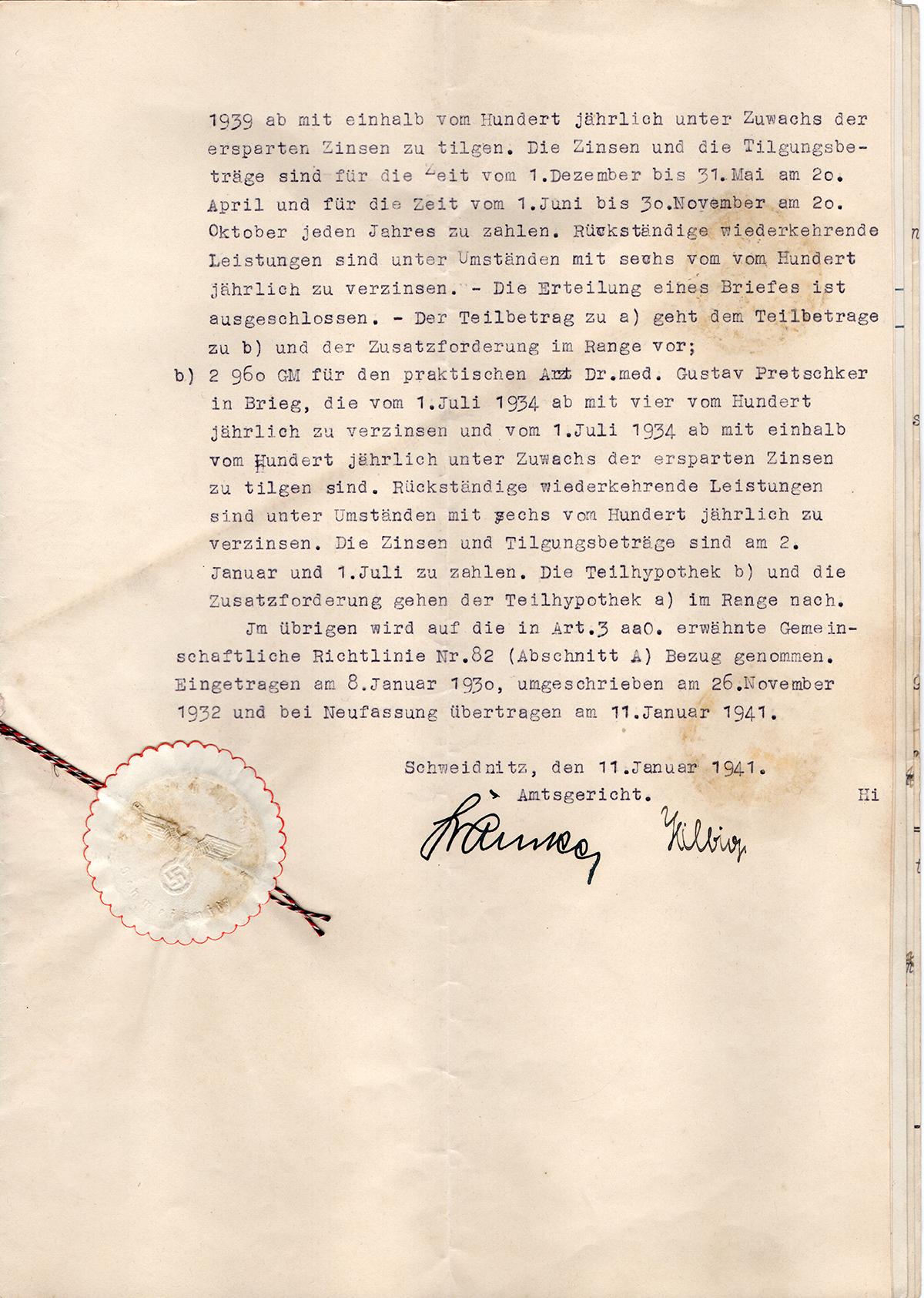 Pożyczka hipoteczna mieszkańca Konradswaldau Martina Langera 1929 (5)