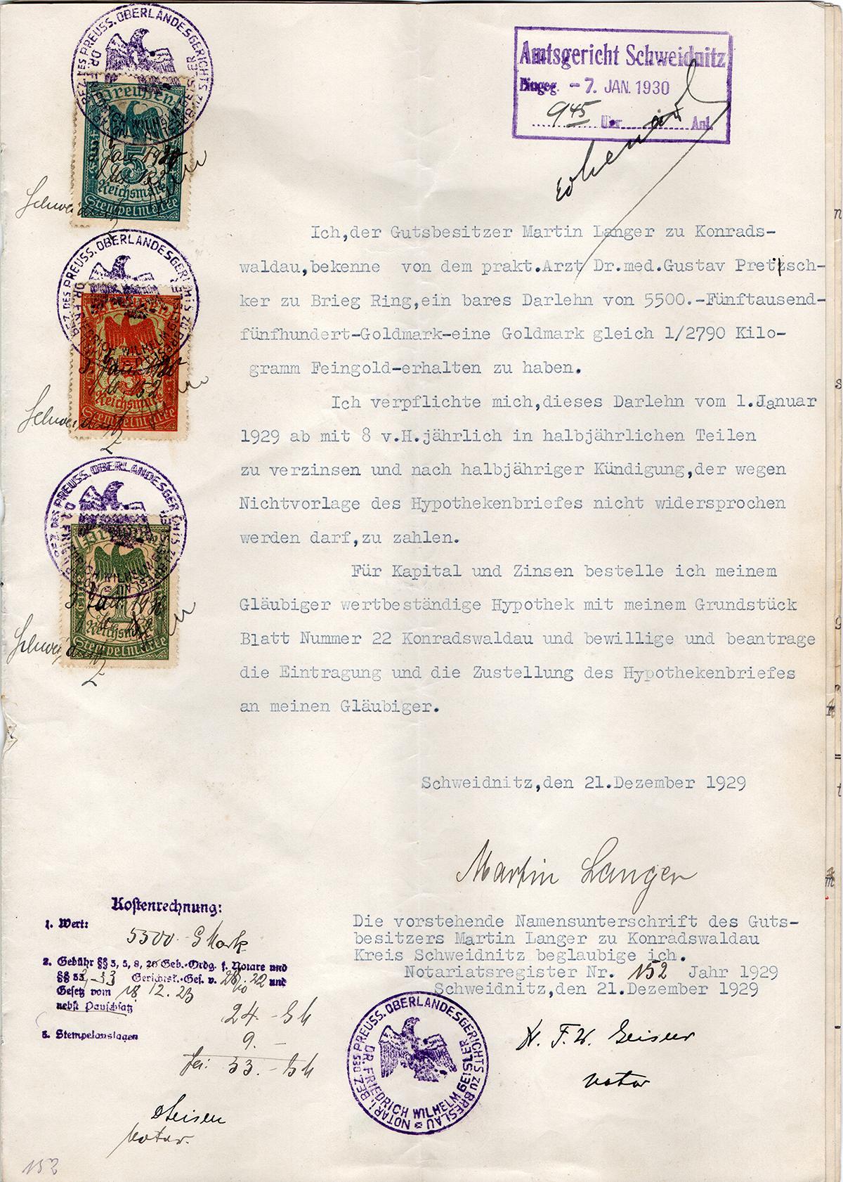 Pożyczka hipoteczna mieszkańca Konradswaldau Martina Langera 1929 (6)