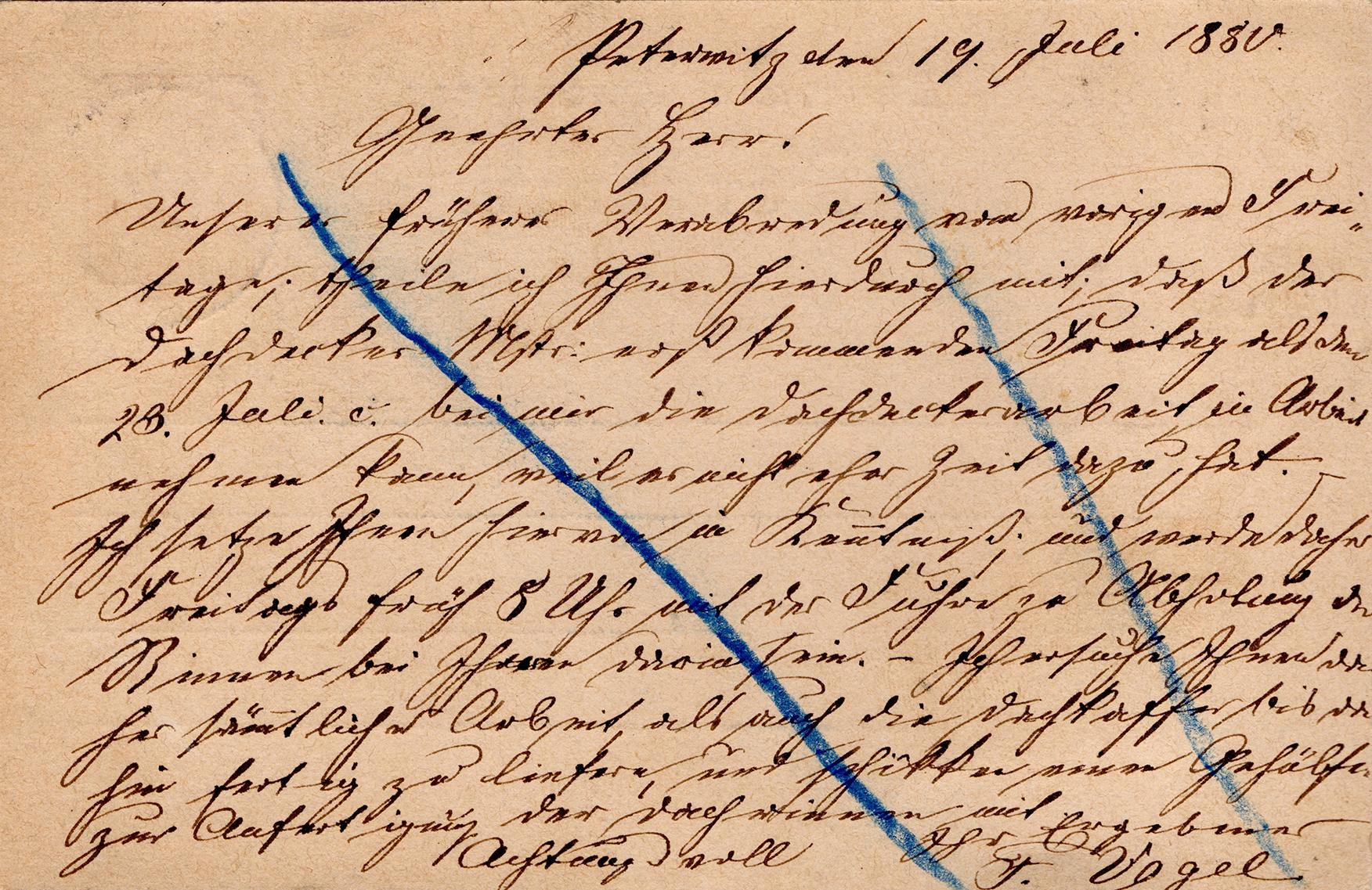 Kartka korespondencyjna Saarau-Schweidnitz 1880 (2)